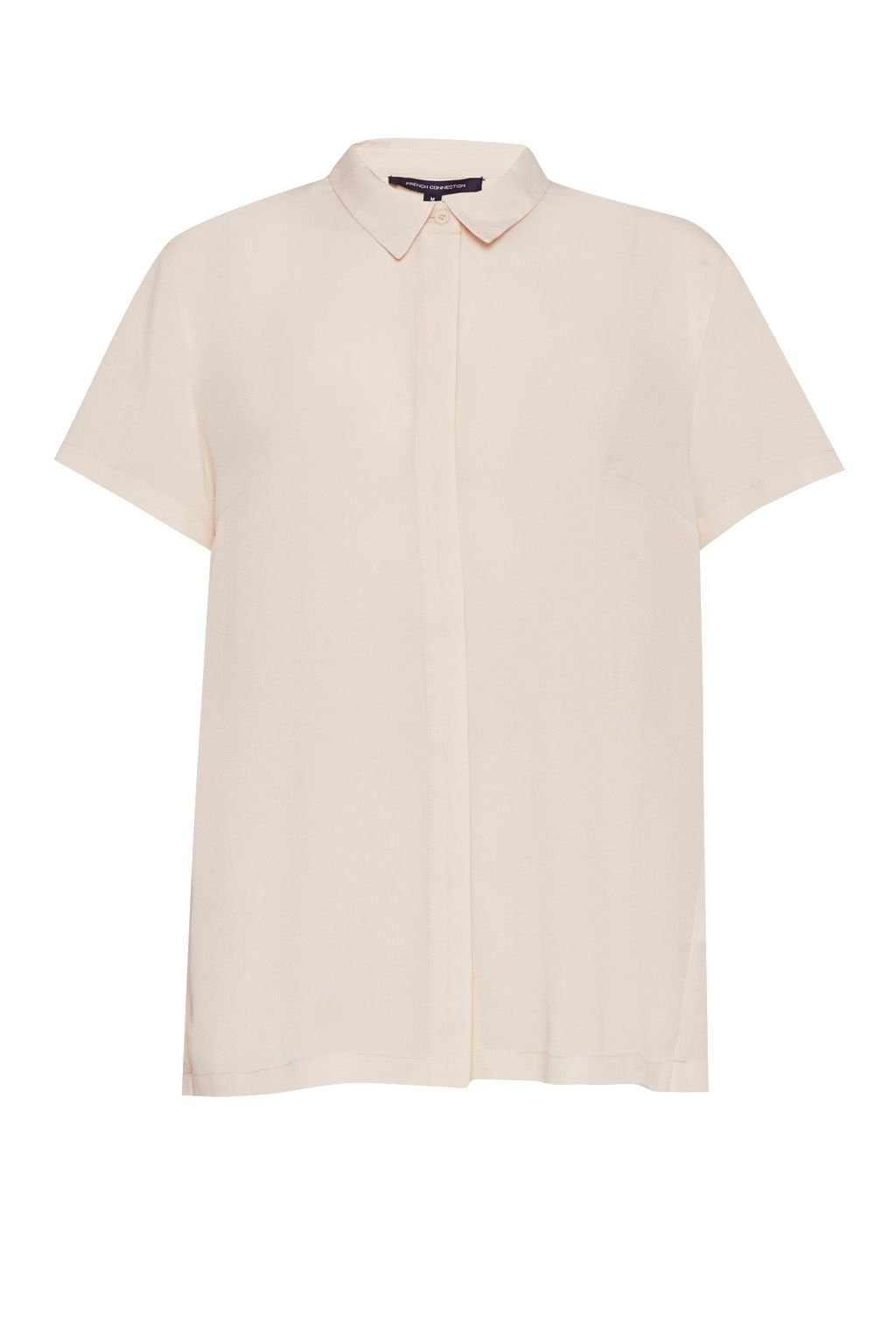 French Connection Classic Crepe Short Sleeve Shirt, Cream