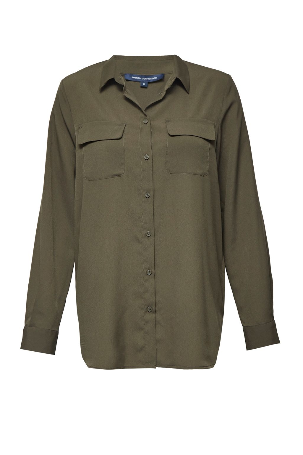 French Connection Classic Crepe Light Woven Shirt, Olive