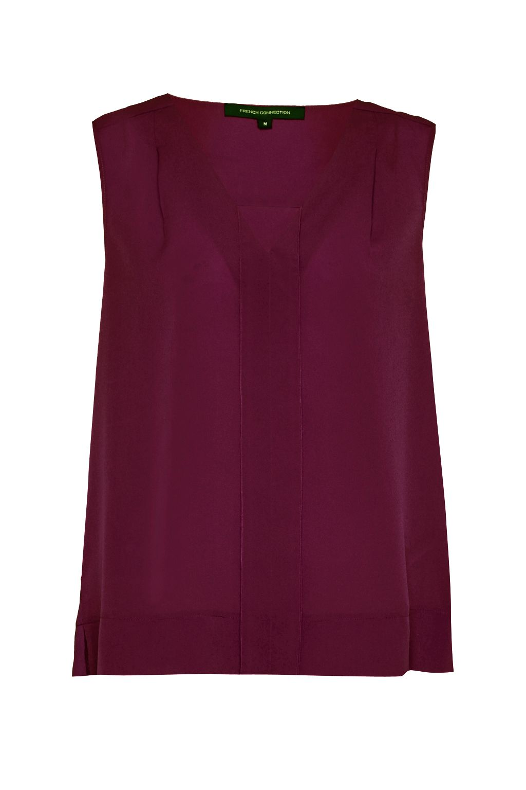 French Connection Polly Plains V Neck Top, Dark Purple