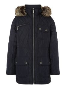 Girls International Quilted Parka Faux Fur Hood