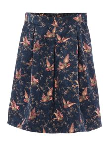 Girls Country Bird Print Cord Skirt