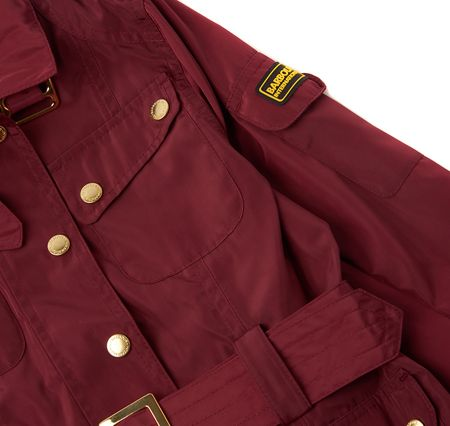 Barbour Girls belted jacket with zip and printed lining