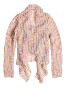 Girls asymmetric chunky knit cardigan