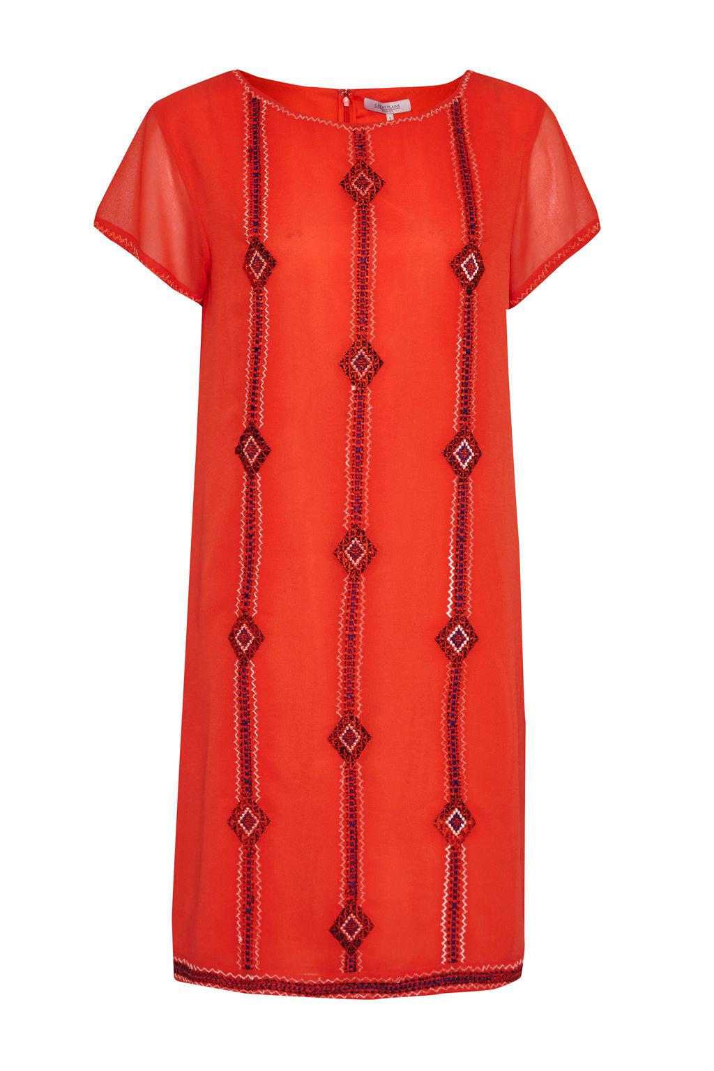 Great Plains Karla Stitch Embroidered Dress, Red