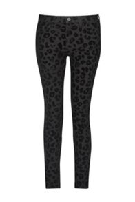 French Connection Snow Leopard Flock Skinny Jeans
