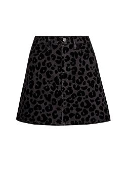 Snow Leopard Flock Mini Skirt
