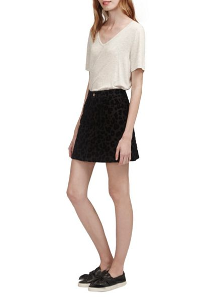French Connection Snow Leopard Flock Mini Skirt