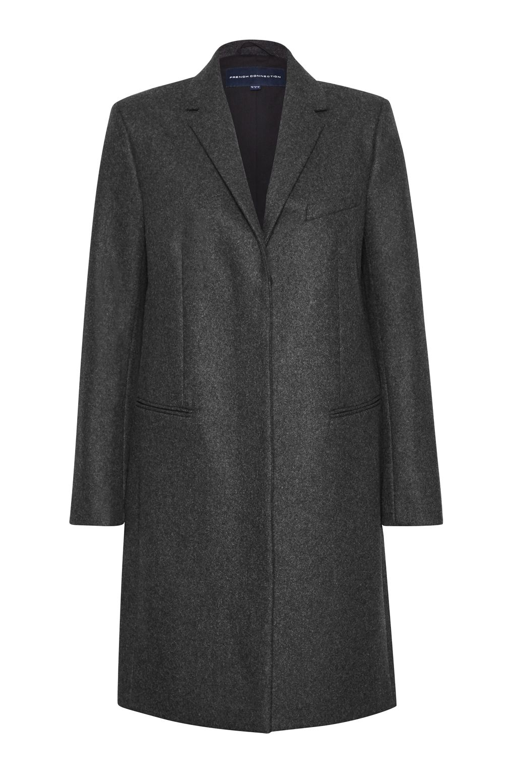 French Connection Platform Felt Wool Coat, Grey