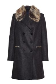 French Connection Platform Felt Faux Fur Collar Coat