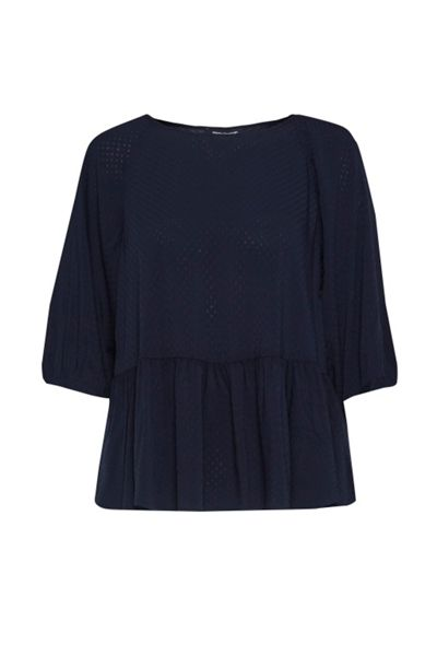 French Connection Empire Dot Flared Hem Top