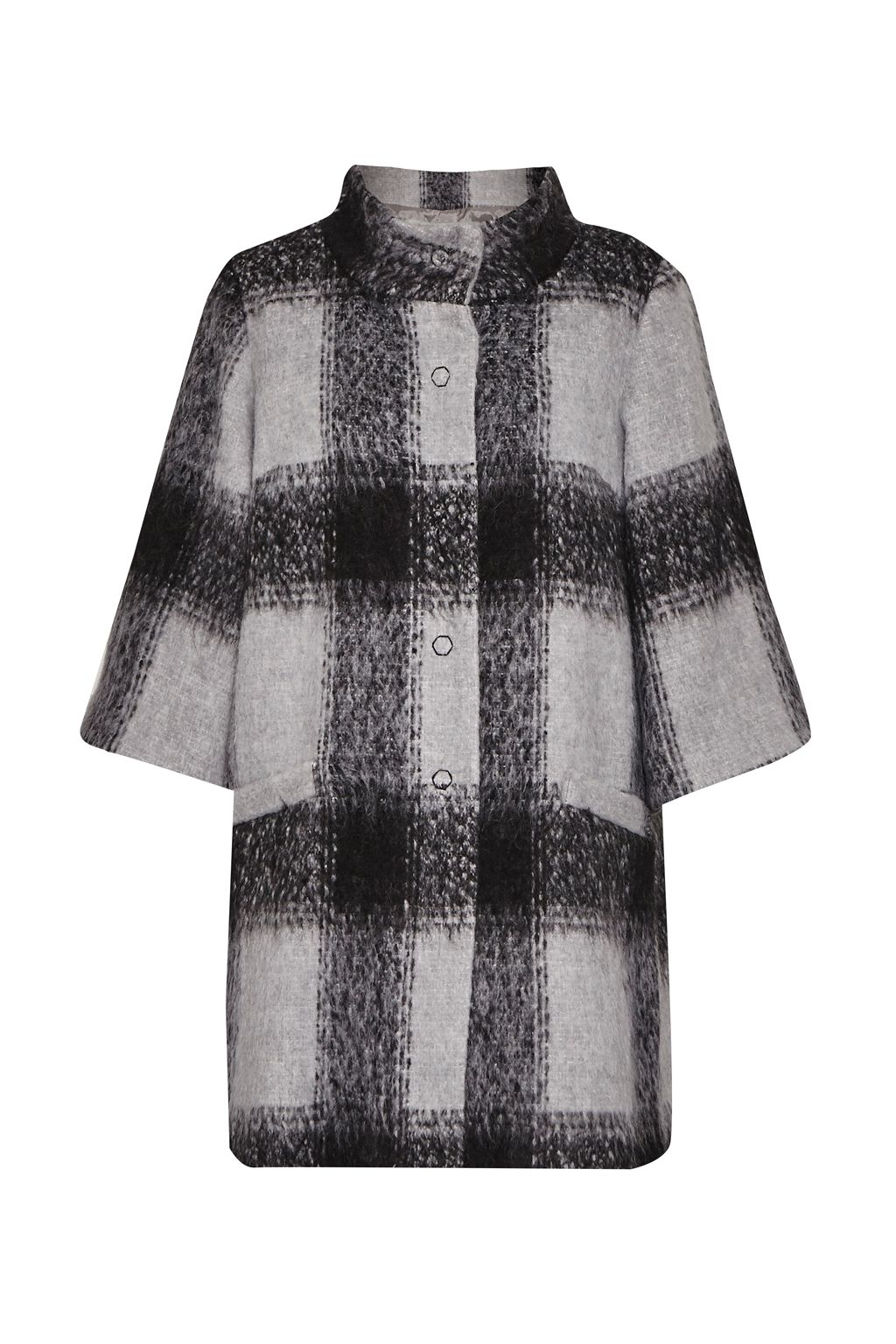 Great Plains Lowery Check Bell Sleeves Swing Coat, Grey