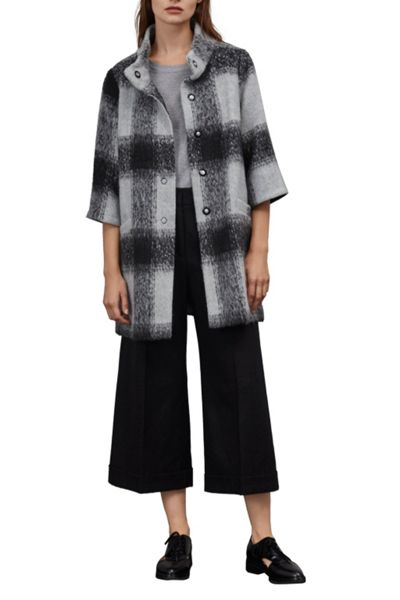 Great Plains Lowery Check Bell Sleeves Swing Coat