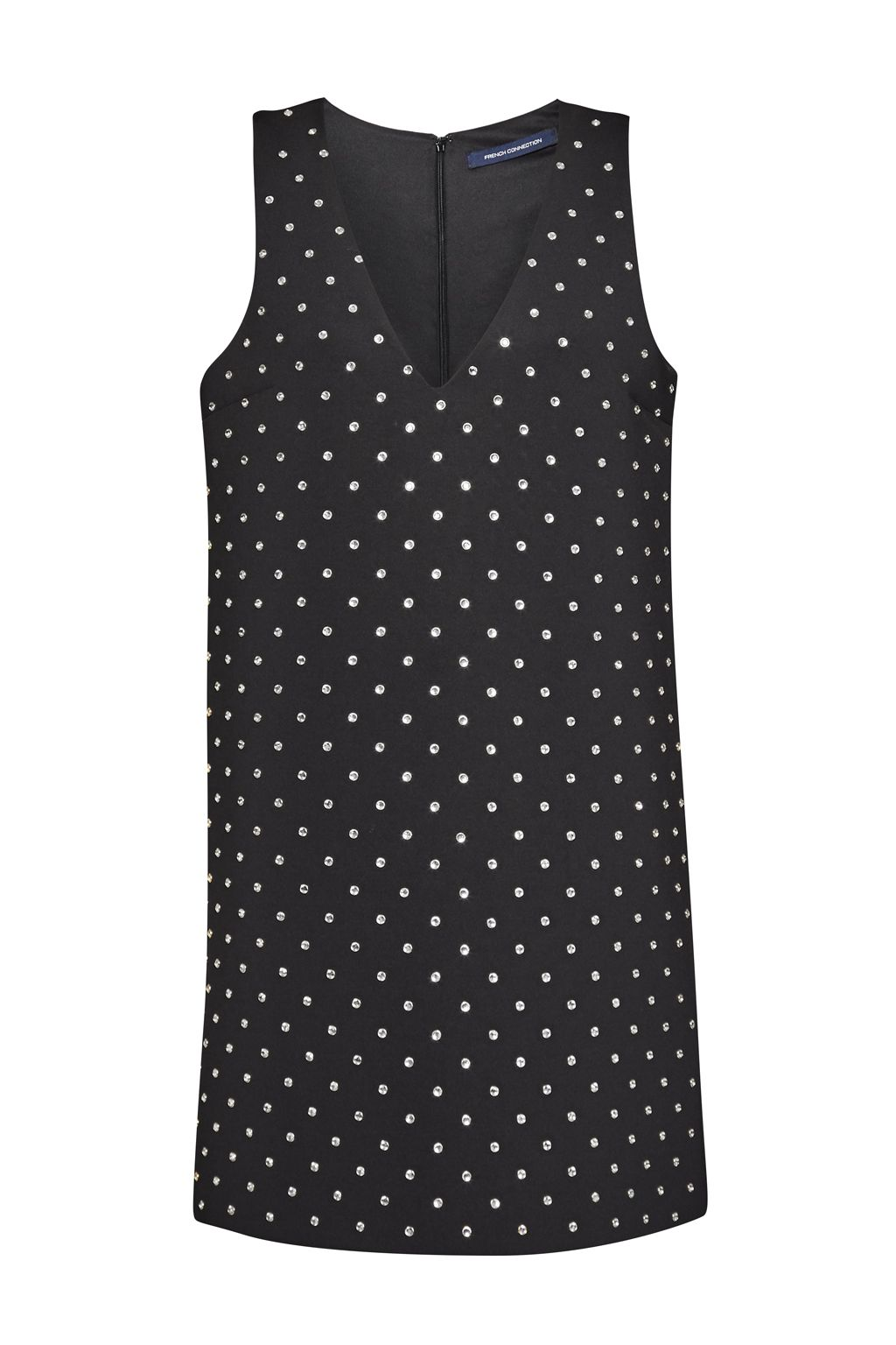 French Connection Diamond Drop Jersey Dress, Black