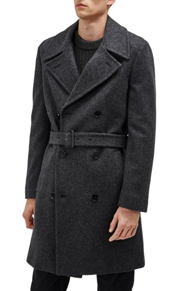 French Connection Drake Wool Double Breast Peacoat