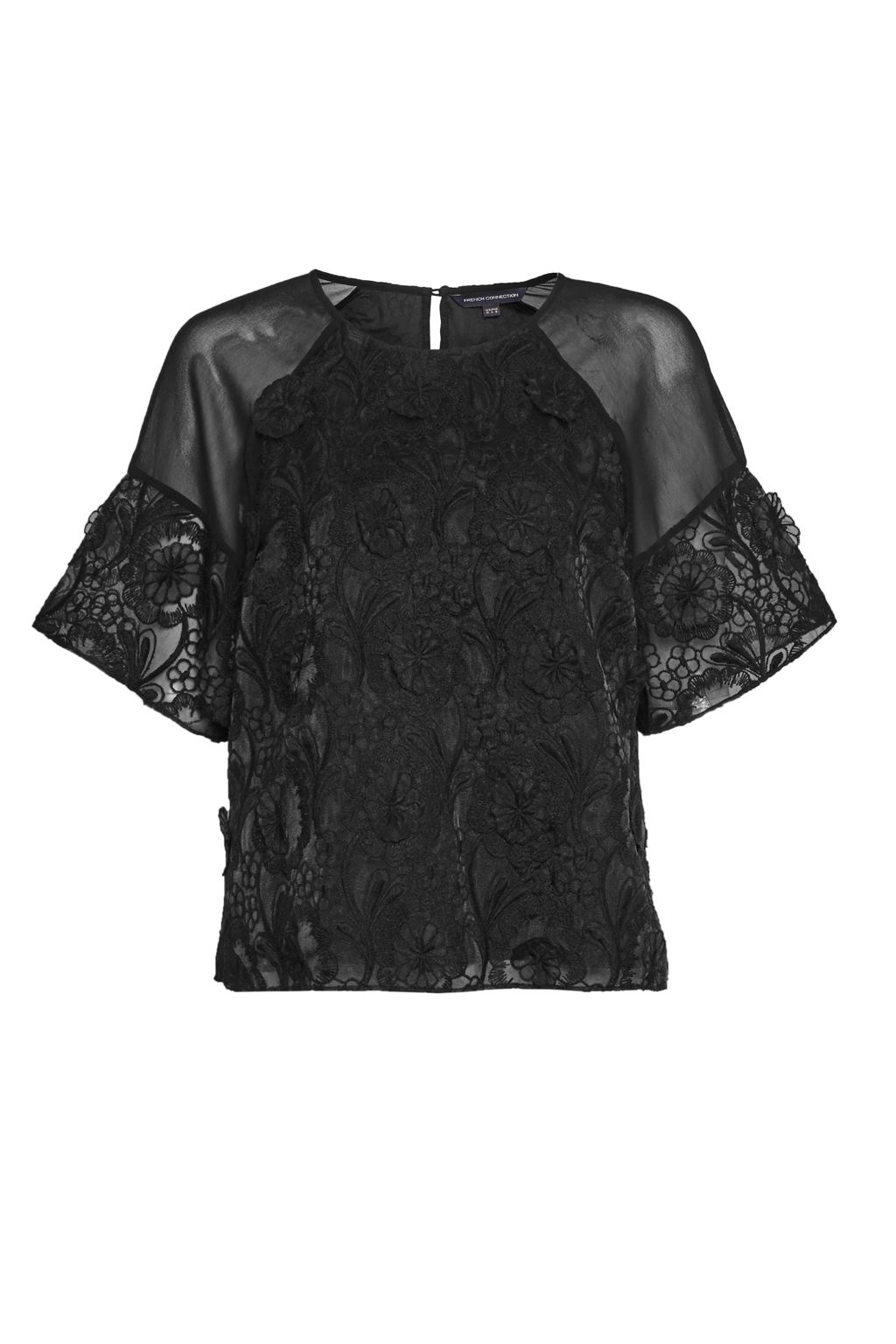 French Connection Apollo Lace Top, Black