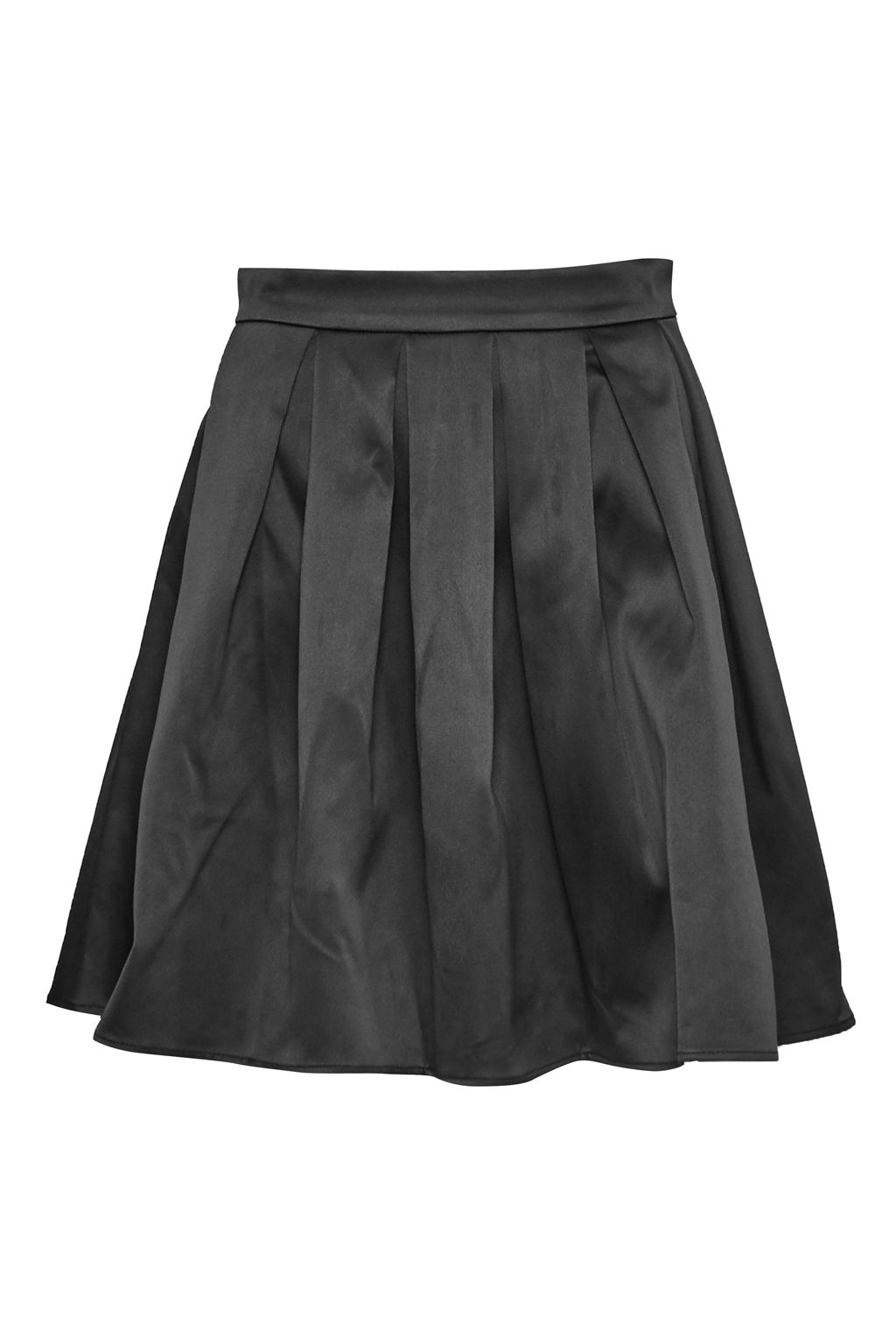 French Connection Juliet Satin Flared Skirt, Black
