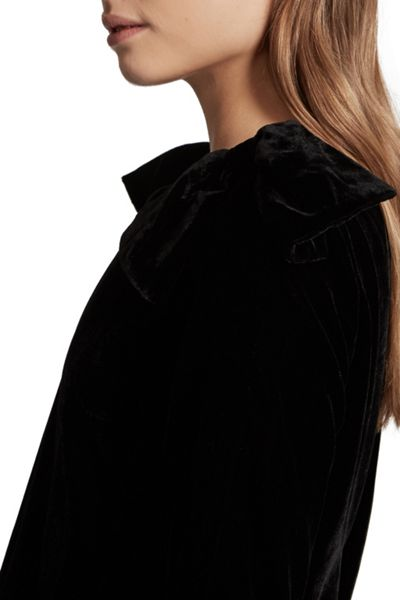 French Connection Nova Velvet Bow Detail Tunic Dress