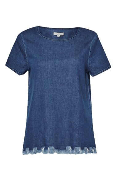 French Connection Cut Off Denim T-Shirt