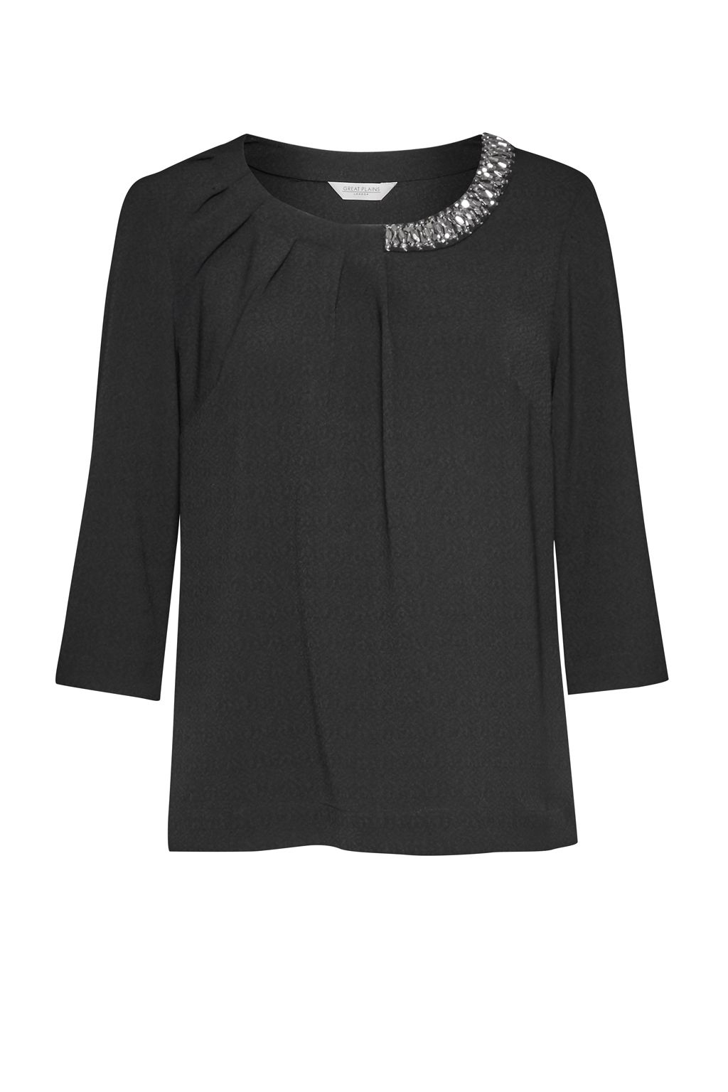 Great Plains Lapland Crepe Embellished Top, Black