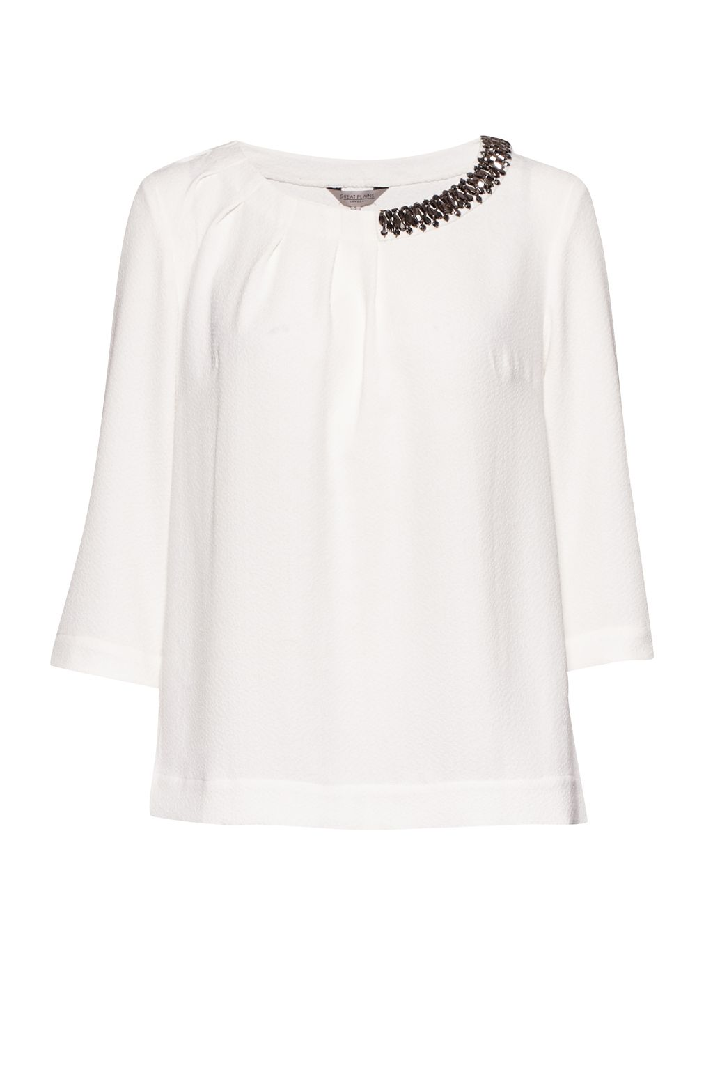 Great Plains Lapland Crepe Embellished Top, White