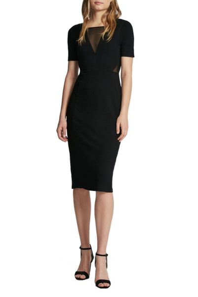 French Connection Band Mesh Insert Bodycon Dress