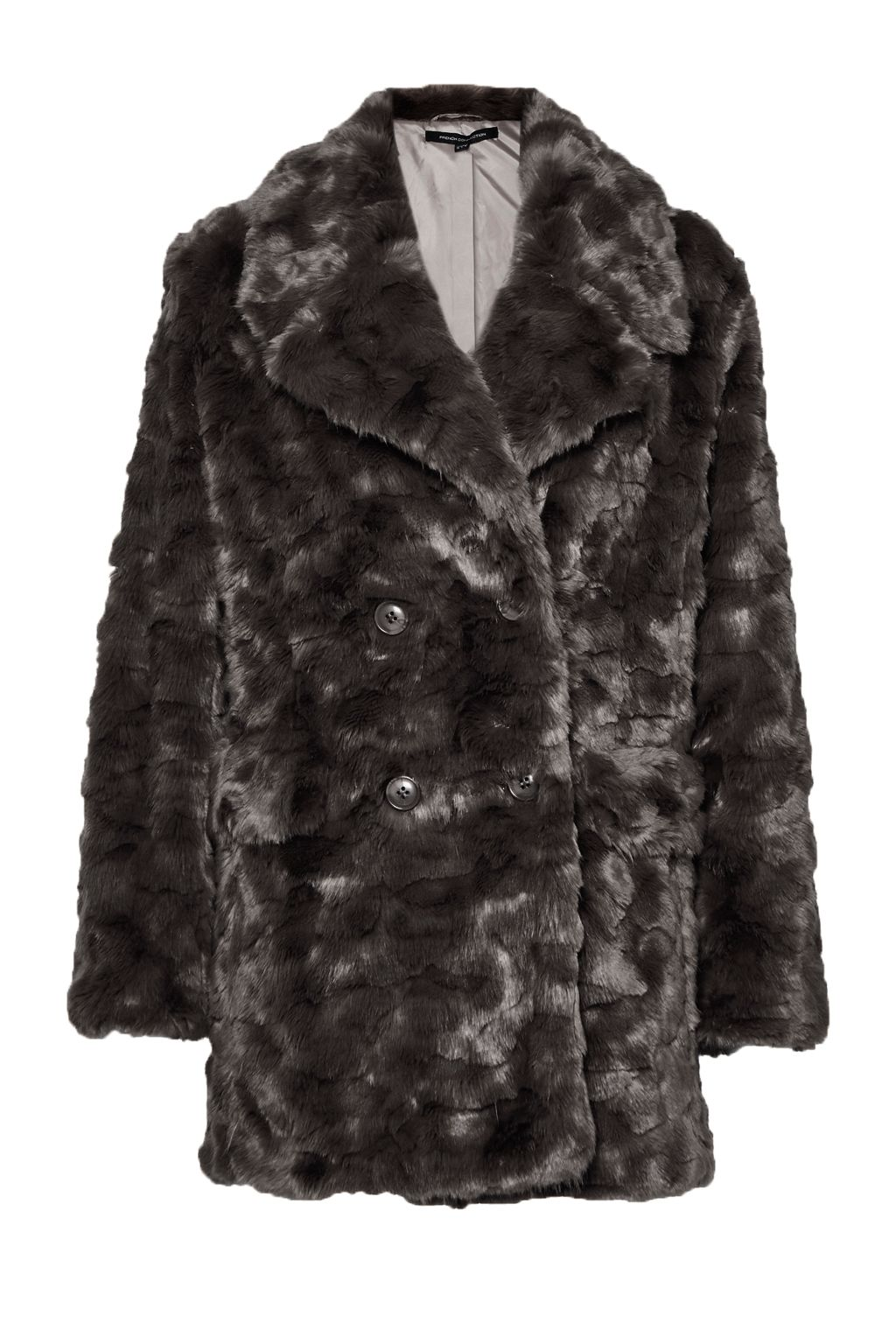 French Connection Nariko Fur Double Breast Coat, Grey