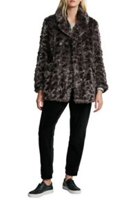 French Connection Nariko Fur Double Breast Coat