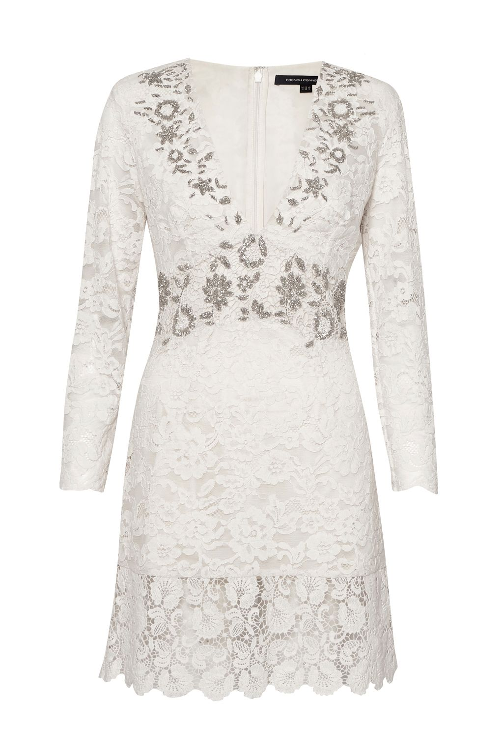 French Connection Emmie Lace Embellished Dress, White