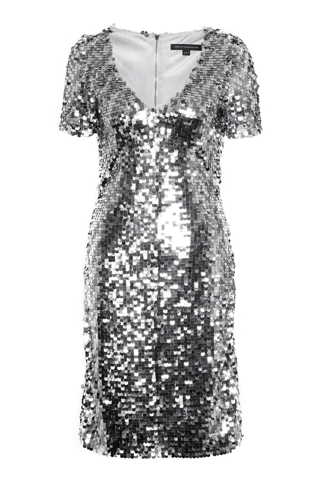 French Connection Snow Sequins Bodycon Dress, Grey