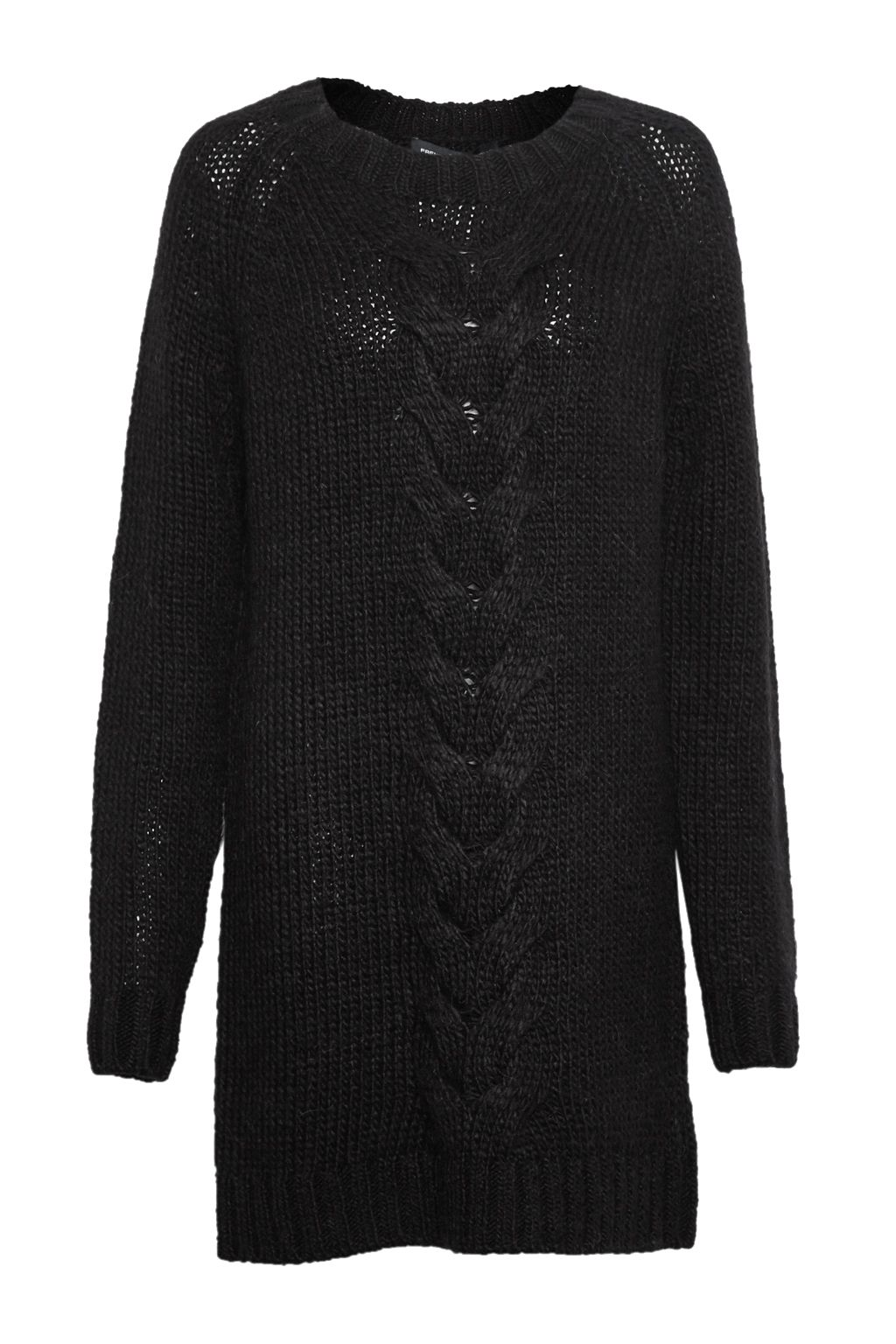 French Connection Ft High Ridge Cable Knit Dress Black