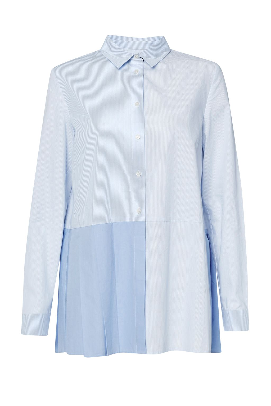 French Connection Serge Stripe Pleat Shirt, Blue