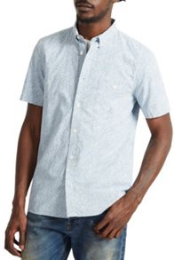French Connection Oxford Peach Floral Short Sleeve Shirt