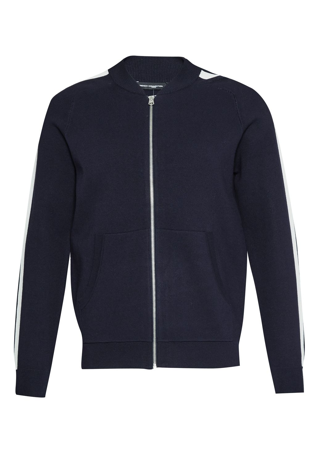 Mens French Connection Lakra Zip Thru Knit Zip Cardigan Navy