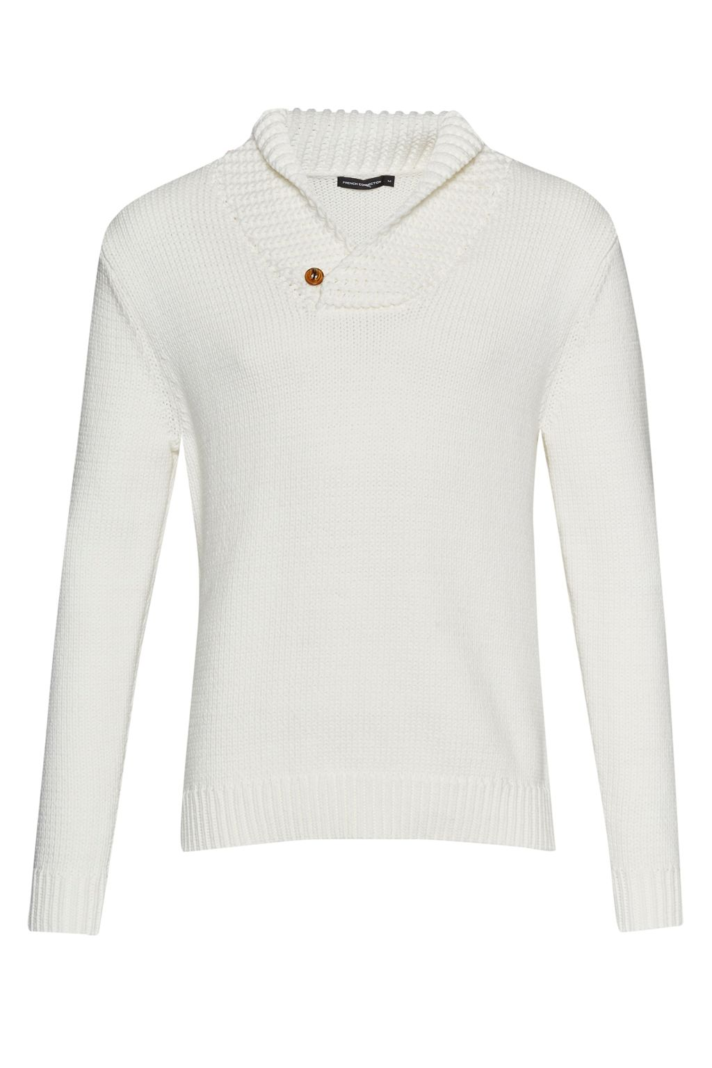 Mens French Connection Flux Knit Shawl Neck Jumper Winter White