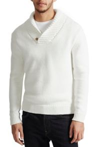 French Connection Flux Knit Shawl Neck Jumper