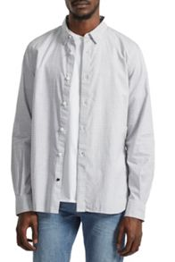 French Connection Horizontal Oxford Peach Striped Shirt