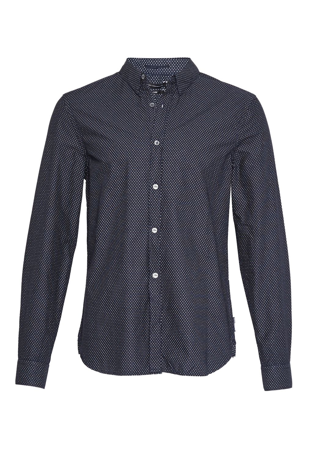 Mens French Connection Summer Divided Dot Slim Fit Shirt Navy