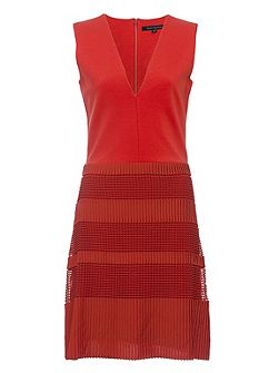 Pleat Lace Jersey V Neck Dress