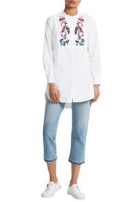 French Connection Rothko Cotton Embroidered Shirt