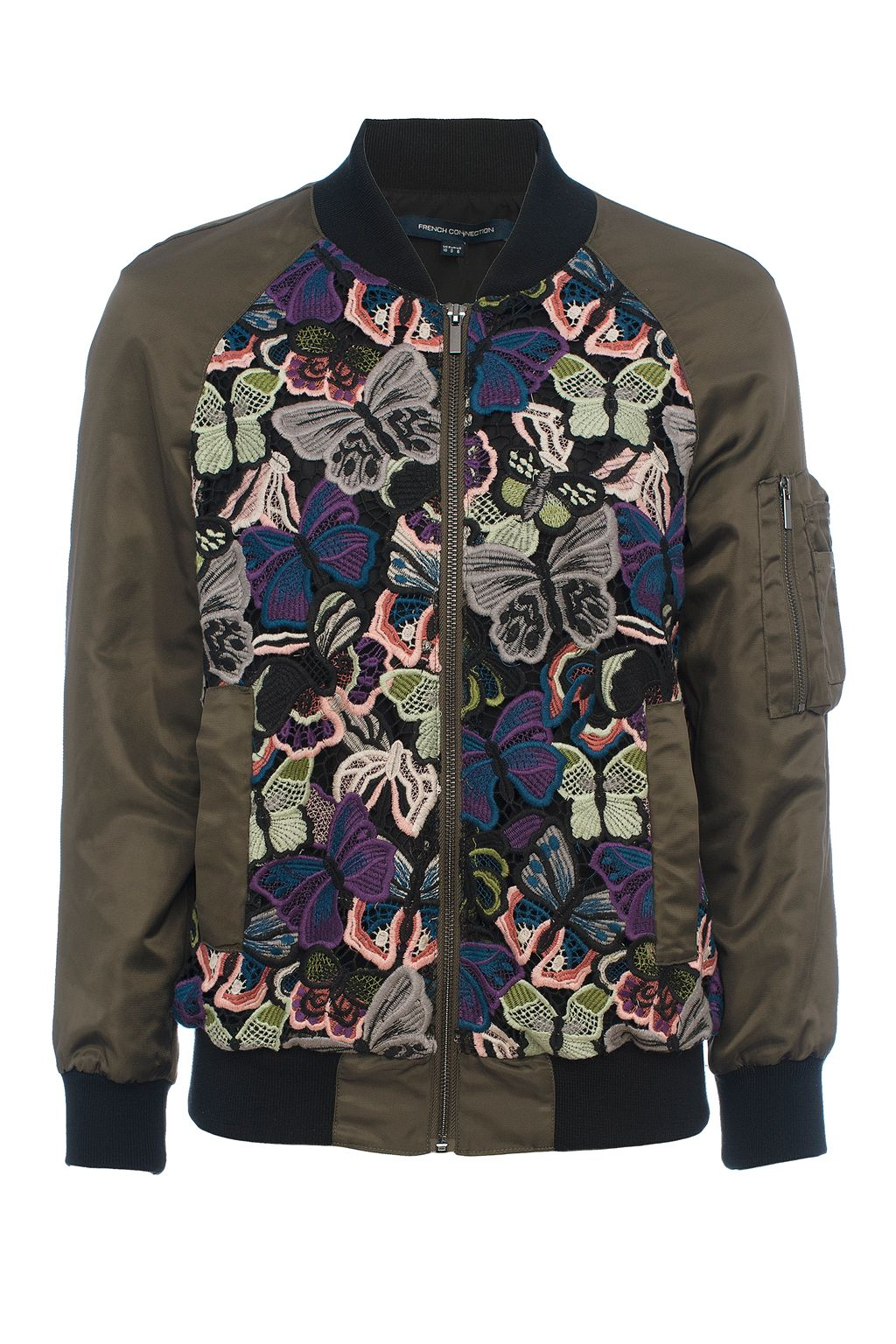 French Connection Rivera Floral Embroidered Bomber Jacket, Green