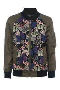 French Connection Rivera Floral Embroidered Bomber Jacket