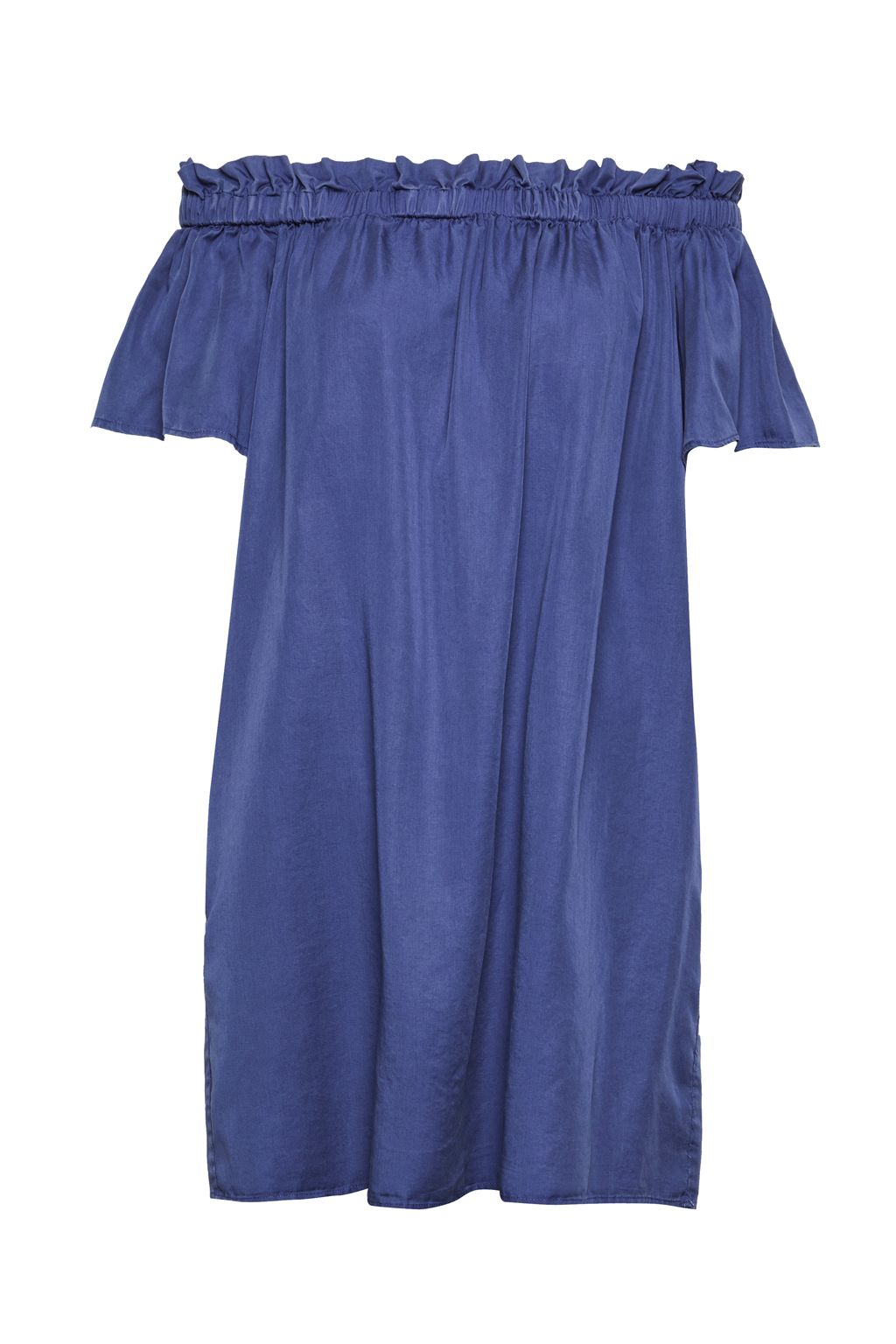 French Connection Stayton Ruffle Denim Bardot Dress, Blue