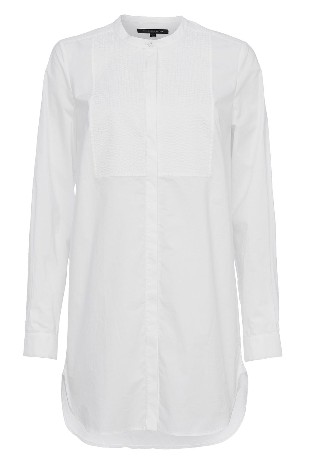 French Connection Smithson Cotton Bib Front Longline Shirt, White