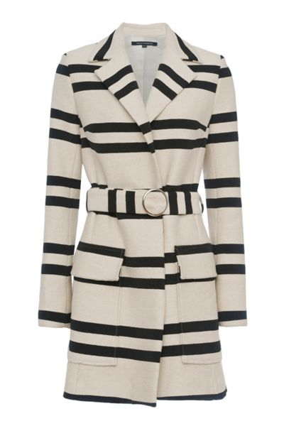 French Connection Escher Stripes Belted Mac