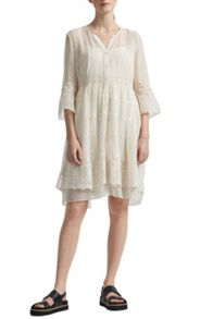 Great Plains Dobby Spot Floral Embroidered Dress