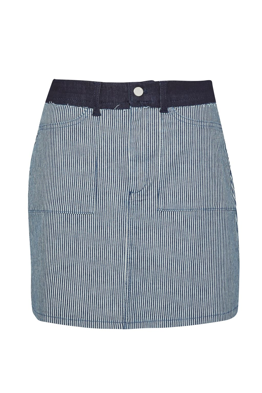 French Connection Stripe Mash Up Mini Skirt, Blue