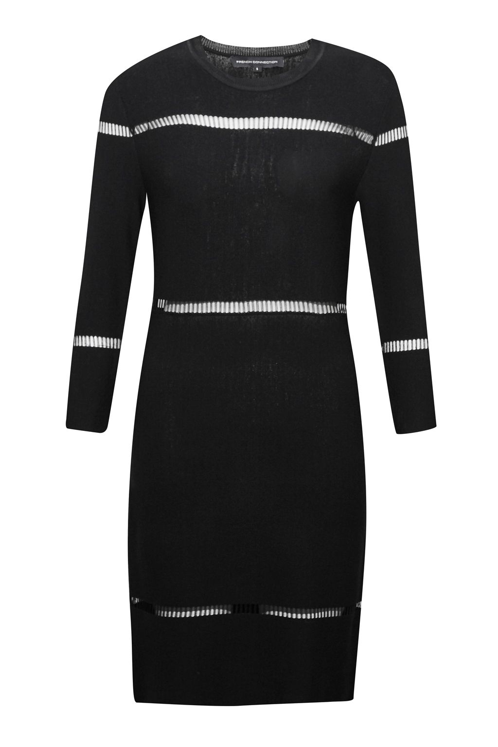French Connection Danni Ladder Stitch Knitted Dress, Black