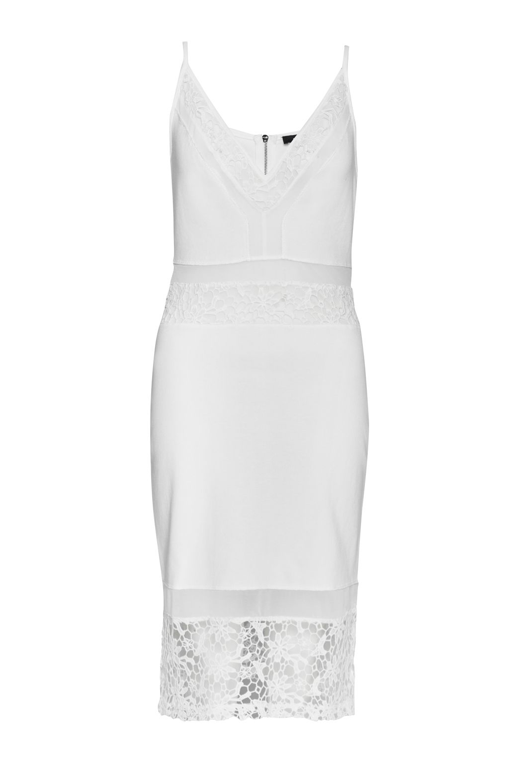 French Connection Noland Layer Jersey Strappy V Neck Dress, White