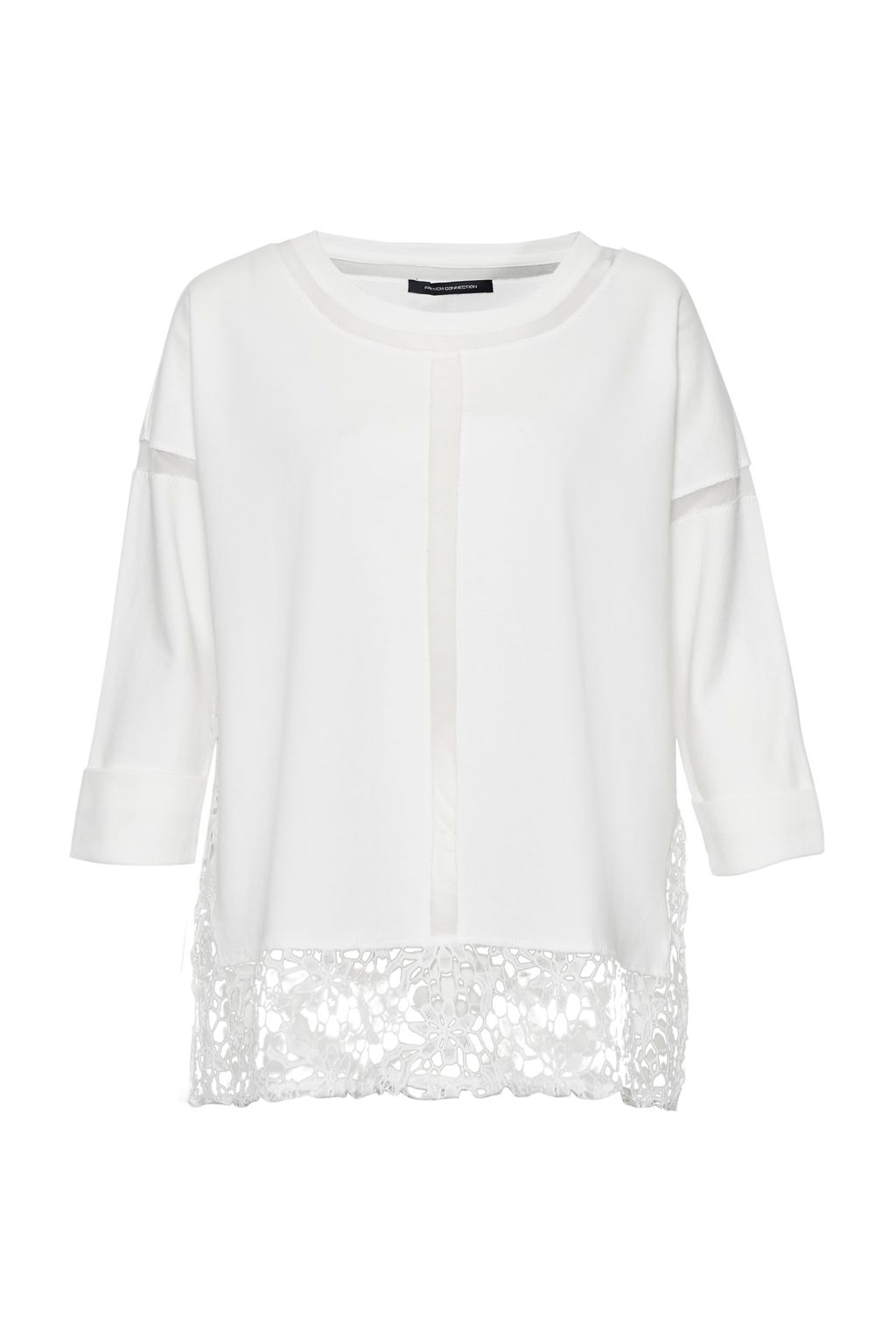 French Connection Noland Mesh Panelled Lace Top, White
