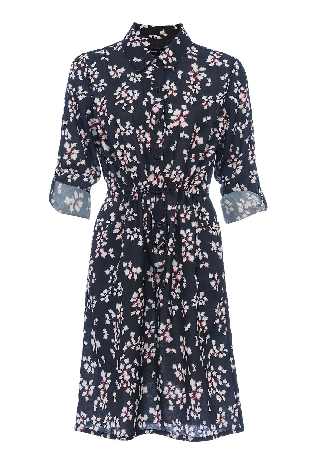 French Connection Eva Crepe Leaf Print Shirt Dress, Blue